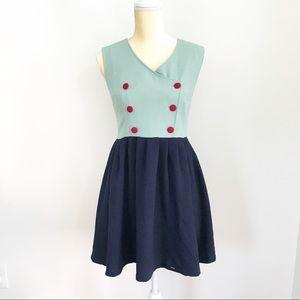 Kling • Retro Button Fit & Flare Pin Up Mini Dress